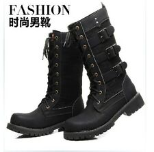 2014 Sreet Rock COOL-MEN'S PUNK High Ankle # Fashion Army Boot SHOE # PU leather