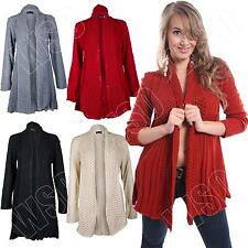 New Womens Ladies Long Crochet Knitted Waterfall Cardigan Size 8-10-12-14-16 S M