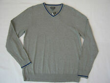 New Mens XL Kenneth Cole Reaction 100% Cotton V-Neck Shirt, Gray w Blue Trim $59