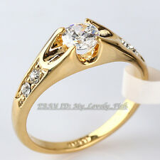 Fashion Solitaire Engagement Wedding Ring 18KGP Crystal Sz 5.5-10