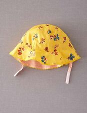Mini Boden Baby Brand New Girls Printed Reversible Sun Hat Yellow Floral Pink
