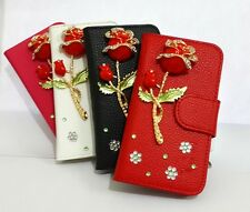 Rose Crystal Rhinestone flip leather Card slot case cover for Samsung Phones