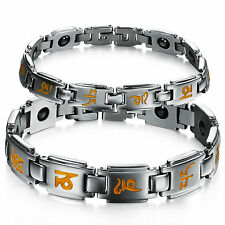 Couple Magnetic Bracelet Stainless Steel Anti-radiation Bangle Jewel Gifts 3141