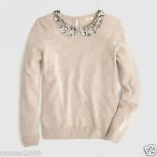 NWT J. Crew Jewel Collar Jeweled Peter Pan Sweater Size XS S M L $108 Sold Out