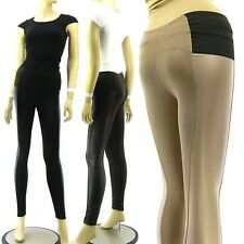 Wide Elastic Waist Band Middle Rise Faux Leather Sides Pants Leggings Skinny