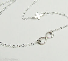 TINY Infinity Necklace with Sideways Cross, Sterling SIlver or Gold Vermeil