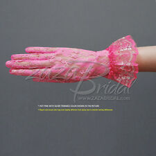 Flower Pattern Women's Gold/Silver Trimmed Lace Gloves with Ruffle-Wrist Length