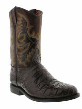 Crocodile alligator belly roper cowboy western dress boots shoes round toe biker