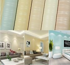 White/Beige/Blue Classic Flocking Plain Stripe Modern Solid Color Wallpaper Roll