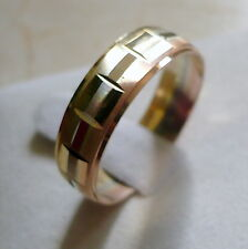 14K SOLID TRICOLOR GOLD MEN'S/ WOMEN'S WEDDING BAND RING SZ5-13FREE ENGRAVING