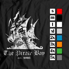 NEW MEN THE PIRATE BAY EST 2003 VINTAGE/DISTRESSED POLITICAL/ANARCHY T-SHIRT TEE