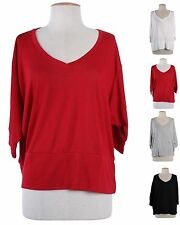 Women 3/4 Dolman Sleeve Cropped Jersey Knit Top V Neck Solid Plain Draped Shirt
