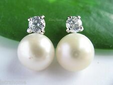 925 Sterling Silver White AAA 8mm Cultured Freshwater Pearl Stud Earrings Gifts