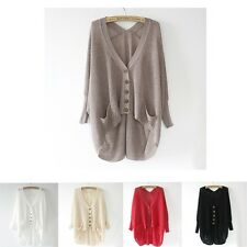 2014 Ladies Loose Hollow Asym V-Neck Batwing Knitted Sweater Cardigan Tops