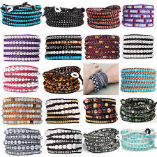 5 pieces lot wholesale bracelets real leather natural gemstone beaded bracelets
