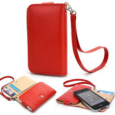 Slim Red Flip Designer PU Leather Smartphone Wrist-Let Cover Pouch Bag Guard