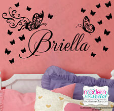 Butterfly Personalized Name Vinyl Wall Decal Lettering Nursery Girls Bedroom