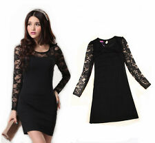 Sexy Women Black Floral Lace  Evening Party Cocktail  Clubbing  Mini Dress #079