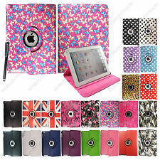 For Apple iPad 2 3 4 New Printed Leather 360° Stand Smart Flip Case Cover+Stylus