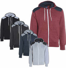New Mens Quilted Zip Up Sweatshirt Hoodie Elbow Patch Hooded Jacket S M L XL