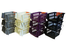 3 Tier Plastic Stacker Vegetable Veg Rack Storage Basket Tray Kitchen Office