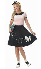 Womens 1950s 50s Grease Pink Poodle Hop Dress Costume
