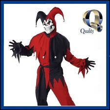 Red Evil Jester Adult Men's Costume | BEST QUALITY Scary Halloween Fancy Dress