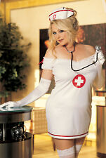PLUS SIZE NAUGHTY NURSE FANCY DRESS OUTFIT/COSTUME HAT INCLUDED SIZE 14 16 18 20