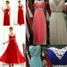 2014 Sexy Beaded Chiffon Prom Evening Party Gowns Bridesmaids Dresses Size 6-26