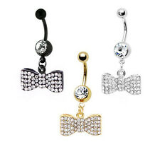 Bow Belly Button Navel Ring Dangle Crystal CZ 14G + 1 Free Retainer Choose Color
