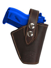 Barsony Gun OWB Brown Leather Belt Clip Holster for Walther, Sig Mini 22 25 380