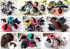 5 pcs Big Hair Satin Bow/Leopard Hair Clips Girl's Hairpin Small gifts 10 Style