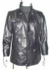 2039 Fine Custom Leather Pea Coat Fashion for Men Tall Big Large Size and All
