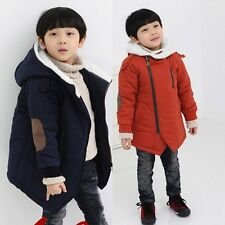 Kids Toddlers Girls Boys Fleece Hoodie Parka Jacket Thick Outerwear 3-8 Y S404