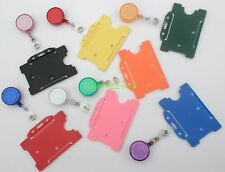 Badge Reel & Id Card Holder RED black BLUE clear GREEN pink YELLOW purple ORANGE