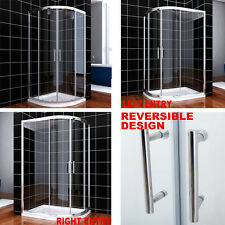 Shower enclosure quadrant sliding door cubicle stone tray 6MM EASY CLEAN GLASS
