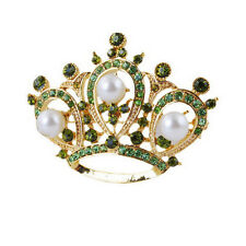 Unique Design Jewelry Crown Silver imitation pearl Full Shine Crystal Brooch pin