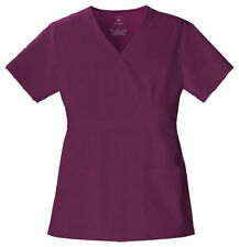 Cherokee Luxe Wine Mock Wrap Scrub Top 1841 Buy 2+ Ship $4 NWT
