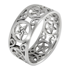 Sterling Silver Wide Filigree Pentacle Pentagram Wiccan Pagan Band Ring  sz 4-15
