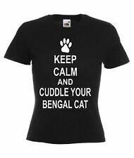 KEEP CALM AND CUDDLE YOUR BENGAL CAT T-SHIRT  Pet Adults Kids Christmas Gift