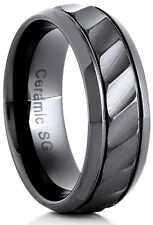 Men's 8mm Wide Black Ceramic Band Comfort Fit Ring Grooved Pattern - CER005