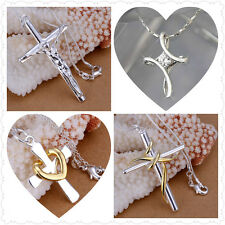925 Sterling Silver Cross Pendent Necklace Women Fashion Jewellry***UK Seller***