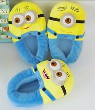 "Despicable Me 2 Plush Stuffed Slippers Soft Toy Minion 11"" 3D Eyes Adult Shoes"