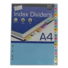 10 Part OR A-Z File Dividers - Coloured Punched Tabs Document Index Divider New