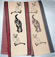 Cat Kitchen Towel | Cotton Waffle | Red or Blue | Beige Tan | Free US Shipping!