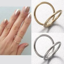 Simple Shiny Polished Double Bar Two 2 Thin Lines Row Jaws Brass Ring Size 6.25