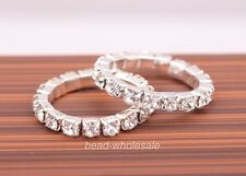 1 Row/2 Rows Crystal Rhinestone Paved Jewelry Ring Stretch Elastic Finger Ring