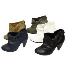 LADIES SLIP-ON RUCHED WOMENS SLOUCH ROUND-TOE ANKLE BOOTS SHOES SIZES 2-8