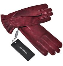 DOLCE & GABBANA Leder Handschuhe Rot Leather Gloves Red Gants Rouge 01886