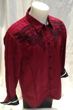 Roar Mens Long Sleeve Shirt Tribal ARROW Burgundy Slim Fit L XL 2XL W51899S NWT
